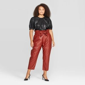 Who What Wear, Leather Paper Bag Pants, Red, 16
